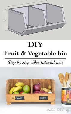 Easy DIY Vegetable storage Bin with divider Perfect beginner woodworking project Scrap wood project idea kitchen organization solution Wood Pallet Furniture Ideas, Plans, DIY Pallet Projects - 101 Pallets - Part 15 17 Simple & Cheap Home Creative De Diy Projects Plans, Scrap Wood Projects, Beginner Woodworking Projects, Diy Pallet Projects, Woodworking Tips, Project Ideas, Popular Woodworking, Woodworking Furniture, Carpentry Projects