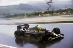 Ayrton Senna (BRA) Lotus 97T dominated the race in appalling conditions to claim his first Grand Prix victory. Portuguese Grand Prix, Estoril, 21 April 1985.