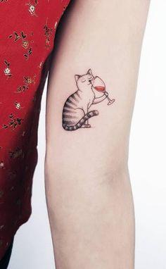 Most Creative Small Tattoos That Will Blow Your Mind - Game of Spoons Cool Small Tattoos, Pretty Tattoos, Girl Tattoos, Tattoos For Women, Tatoos, Minimalist Cat Tattoo, Grandma Tattoos, Wine Tattoo, Cute Cat Tattoo