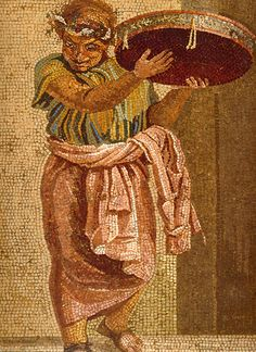 Musician with Tympanon (detail of a Roman mosaic) ~ Villa del Cicerone, Pompeii. In ancient Greece and Rome, the tympanum or tympanon was a type of frame drum or tambourine.  It was circular, shallow, and beaten with the palm of the hand or a stick.The instrument came to Rome from Greece and the Near East, probably in association with the cult of Cybele.
