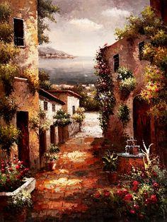 Callejuela de un pueblo mediterráneo