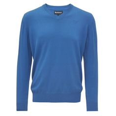 Barbour Mens Pima Cotton V Neck Sweater Fresh Blue | Naylors.com