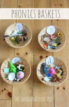Phonics/Alphabet Baskets Sorting Activity (from The Imagination Tree)