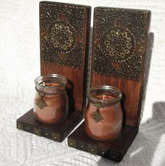 Pair Of Candle Sconces with Candles Decorative by RegalosRusticos