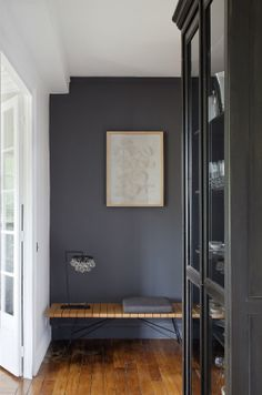 Potential accent wall in bedroom color. Identifying 12 of the Most Popular Interior Design Styles: Modern Blue Gray Paint, Grey Paint Colors, Blue Grey, Grey Wall Color, Navy Paint, Dark Blue, Dark Grey Walls, White Walls, Dark Grey Hallway