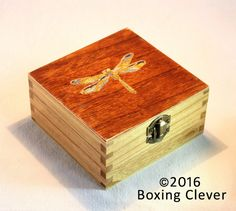 Dragonfly Jewellery Box Wooden Engraved with Blue Glitter Gloss