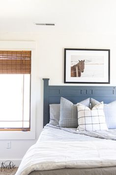 Teenage boys bedroom complete with simple white walls, ticking strip bedding, grey plaid pillows and some horse photography to round it out. Room Makeover, Interior Wall Paint, Room, Grey Plaid Pillows, Distressed Furniture, Home Decor, Bedroom Decor, Room Paint, Bedroom Flooring