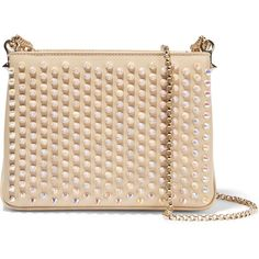 Christian Louboutin Triloubi small spiked leather shoulder bag,... (5.035 RON) ❤ liked on Polyvore featuring bags, handbags, shoulder bags, white, genuine leather purse, structured handbag, genuine leather handbags, leather handbags and beige handbags