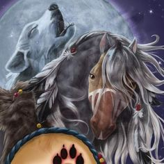 Horse of a Different Color Wolf Spirit Clydesdale Canvas Wall Art