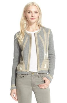 Joie 'Oudatte' Knit Cardigan cotton/poly/wool/cashmere heather grey/oatmeal szS…