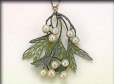 Lalique 1900 signed Enamel & Pearl Pendant: designed as a hanging bough, the leaves & berries decorated w/ plique-à-jour enamel & pearls on a gold & enamel necklet. sothebys.com