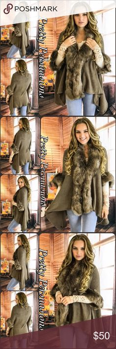 """NWT Mocha Faux Fur Trim Cardigan Sweater Size: OS Measurements Length: 35"""" Bust: 50"""" Waist: 50""""  Acrylic  Features • soft faux fur trim • uber soft, breathable material • hidden hook & eye closure at front • relaxed, easy fit  Cozy up in the trendy cardigan! It's the perfect layering piece for fall & winter! The faux fur adds a kiss of glam & the relaxed fit makes this an easy piece to layer over your favorite thermals, sweaters to tee's & dresses!  Bundle discounts available No pp or trades…"""