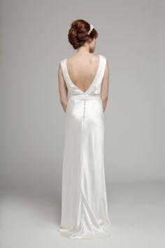 Melanie Potro Bridal Couture - Daisy with back detail Silk Satin Dress, Satin Dresses, Formal Dresses, Wedding Dresses, Rose Corsage, White Books, Silk Roses, Little White, Wedding Book