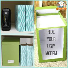 How to Hide Your Ugly Modem + Teacher Home Office Makeover diy office makeover, home offices
