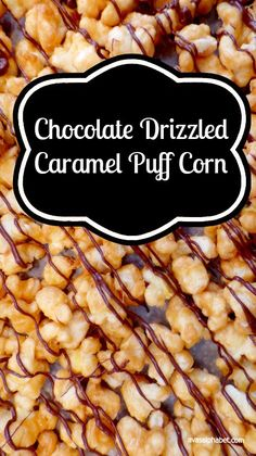 Chocolate Drizzled Caramel Puff Corn - This yummy treat is the perfect balance of sweet and salty. You will not regret trying this recipe! What are you waiting for? Yummy Snacks, Yummy Treats, Sweet Treats, Easy Snacks, Kid Snacks, Popcorn Recipes, Snack Recipes, Flavored Popcorn, Sweets Recipes