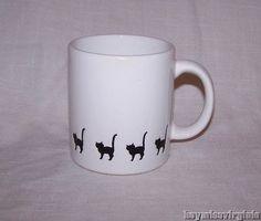 Waechtersbach WHITE with BLACK CAT CATS Coffee Mug Cup Spain