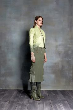 #danieladallavalle #collection #ss16 #elisacavaletti #jacket #tshirt #skirt #earrings #glove #boots #jewellery #green #shades #leather