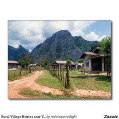 Rural Village Houses near Vang Viang, Laos Postcard