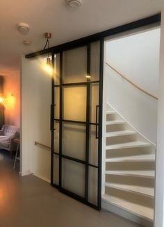 Glass Barn Doors, Glass Door, Open Trap, Media Room Design, Attic Stairs, Staircase Design, Small Media Rooms, Home And Living, New Homes