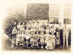 PO.075.1026 - Mr Don Whiting's North Bend Grade School Class. Front Row: Aldon Long, Unknown, Arnie Jenkins Second Row: Delores Tarrant, Jackie Brown, Betty Jane Christie, Helen Davidson, Mary Reenes, Mary Jane, Shirley Metzler, Muriel Montgomery, Donna Mae Smith, Lura Pooler Third Row: Jack Posey, Molly Murphy, Richard Coe, Jeanette, Shelton, Bert Osterlund, Unknown, Bob Wade, Marjorie Flineau, Carroll Caser Back Row: Don Berkebile, Gil Peterson, Cliff August, Charles ?, Jack Carlson, Tom…