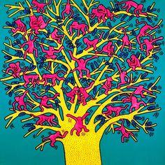 Keith Haring - The Political Line au Musée d'art moderne de la Ville de Paris du 19 avril au 18 août 2013. The Tree of Monkeys, 1984, Courtesy Fondazione Orsi, © Keith Haring Foundation