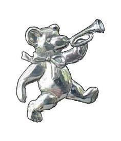 Teddy-Bear-Bugler-Sterling-Christmas-Ornament-Pendant-2001-Hand-Hammer-2799