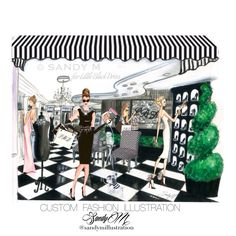 #fashion #fashionillustration #boutique #customillustration for #littleblackdress by #sandymillustration #sandym Fashion Illustrator SANDY M specializes in fashion and beauty illustration and is available for custom illustration for advertising, fashion, beauty, magazine, books, boutiques and more. NEW SANDY M website, shop and blog at www.sandymillustration.com