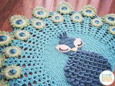 Pavo the Peacock Rug Nursery Mat Carpet Crochet Pattern