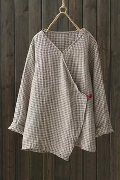 V-Neck Long Sleeve Trendy Plaid Pattern Linen Loose Casual Blouse Linen Blouse, Plaid Pattern, Blouse Designs, Shirt Blouses, Casual, My Style, Long Sleeve, Womens Fashion, Sleeves