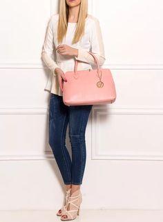 Dámská kožená kabelka ze safiánové kůže - světle růžová