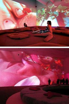 Pipilotti Rist, Sip My Ocean, double screen video projection installation at the Museum of Contemporary Art, Sydney Dark Fantasy Art, Projection Installation, Interactive Installation, Art Installations, Pipilotti Rist, Instalation Art, New Media Art, Exhibition Display, Royal Ballet