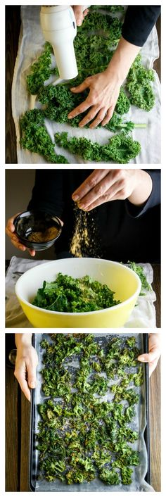 Kale Chips. For seasoning use 1/4t salt, 1/4t red pepper flakes, 1/4t paprika, 1/4t garlic powder and 1T olive oil.