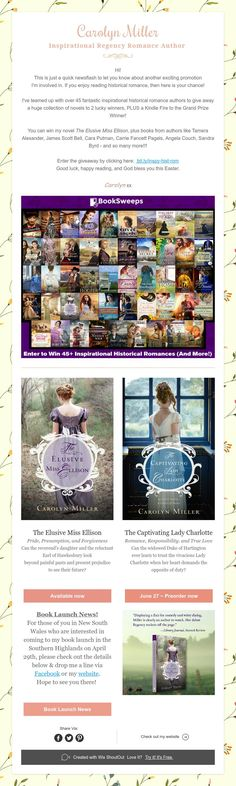 Carolyn Miller Inspirational Regency Romance Author Historical Romance Authors, Book Launch, Happy Reading, Pride And Prejudice, Regency, How To Find Out, Novels, Inspirational, Books