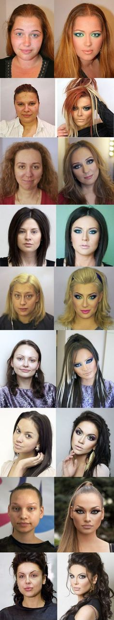 Before and after makeup and photoshop. The women you see in catalogs and advertising often don't look much different from everybody else. They just have professional help.