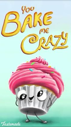 You bake me crazy 😜 Tastemade Puns Funny Food Puns, Punny Puns, Cute Puns, Puns Jokes, Food Humor, Pun Card, Zeina, Frases Humor, Funny Wallpapers