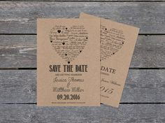 Kraft Paper Save the Date Template - I Love You other Languages Heart - Rustic Printable Wedding Save the Date PDF Templates