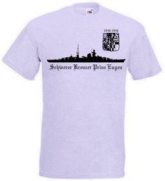 T-Shirt Schwerer Kreuzer Prinz Eugen in der Farbe grau mit Emblem. Auf dem T-Shirt ist das berühmte deutsche Kriegsschiff Prinz Eugen abgebildet. / mehr Infos auf: www.Guntia-Militaria-Shop.de