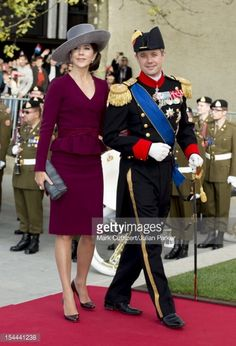 Prince Frederik of Denmark and Princess Mary of Denmark attend the wedding ceremony of Prince Guillaume Of Luxembourg and Stephanie de Lannoy at the Cathedral of our Lady of Luxembourg on October 20,...