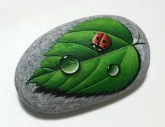 Painted Stone Red Ladybug And Dewdrops on a Green Leaf Is