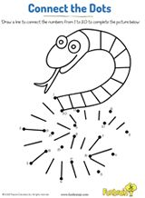 Connect the dots to complete the snake. #prek #printables #earlylearning #coloringpages