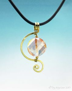 Framed Peach Crystal Spiral | by Myriam - Jewelry Inspired by Nature