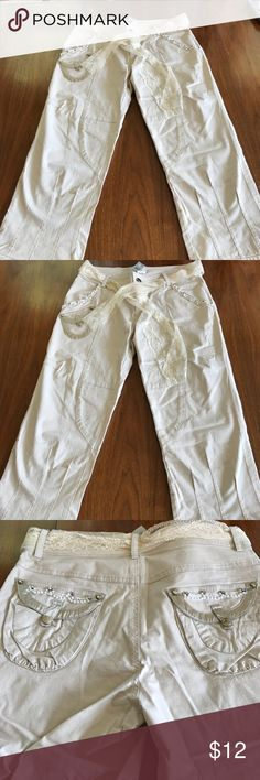 Brand new Cache Capri pants Tons of bing and detail with lace belt. Cache Pants Capris
