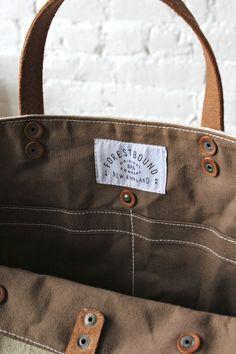 1920's era Farm Feed Sack Pocket Tote - FORESTBOUND