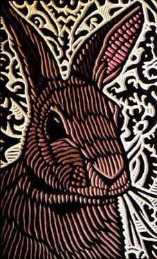LISA BRAWN WOODCUT Bunny cute easter country print illustration design...