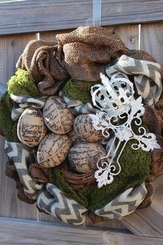 Chevron Burlap Crown Wreath