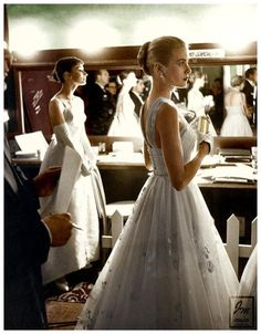 Audrey Hepburn & Grace Kelly backstage at 1956 Academy Awards presentation