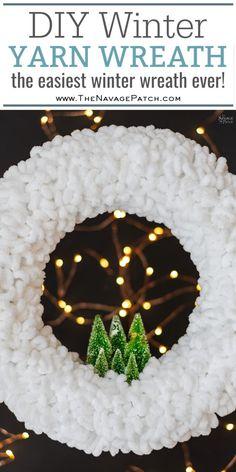 Diy Winter Loop Yarn Wreath The Easiest Diy Winter Wreath Ever How To Make A Loop Yarn Wreath In Under 30 Minutes Diy Upcycled Christmas Decorations Repurposed Loopity Loop Yarn Christmas Projects, Holiday Crafts, Christmas Crafts, Christmas Decorations, Diy Christmas Wreaths, Winter Wreaths, Lollipop Decorations, Fall Crafts, Mason Jar Crafts