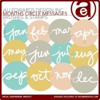 Months Circle Messages Brushes and Stamps
