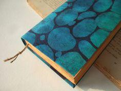 blue pebbles batik fabric journal diary notebook journal by Patiak