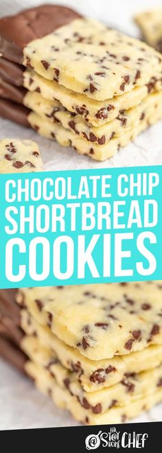 christmas cookie chocolate Chocolate Chip Shortbread Cookies have all the goodness of melt-in-your-mouth shortbread combined with a little bit of chocolate. Your family will love these easy tasty cookies! Dessert Simple, Holiday Baking, Christmas Baking, Christmas Parties, Christmas Treats, Christmas Time, Chocolate Chip Shortbread Cookies, Brownie Cookies, Christmas Chocolate Chip Cookies